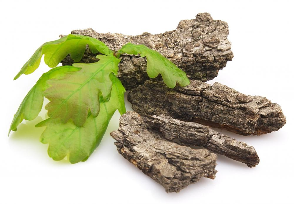 Oak bark, which is used to produce astringents for cosmetics.