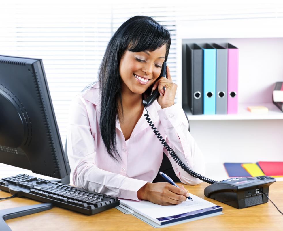 Administrative assistants commonly work in an office setting.