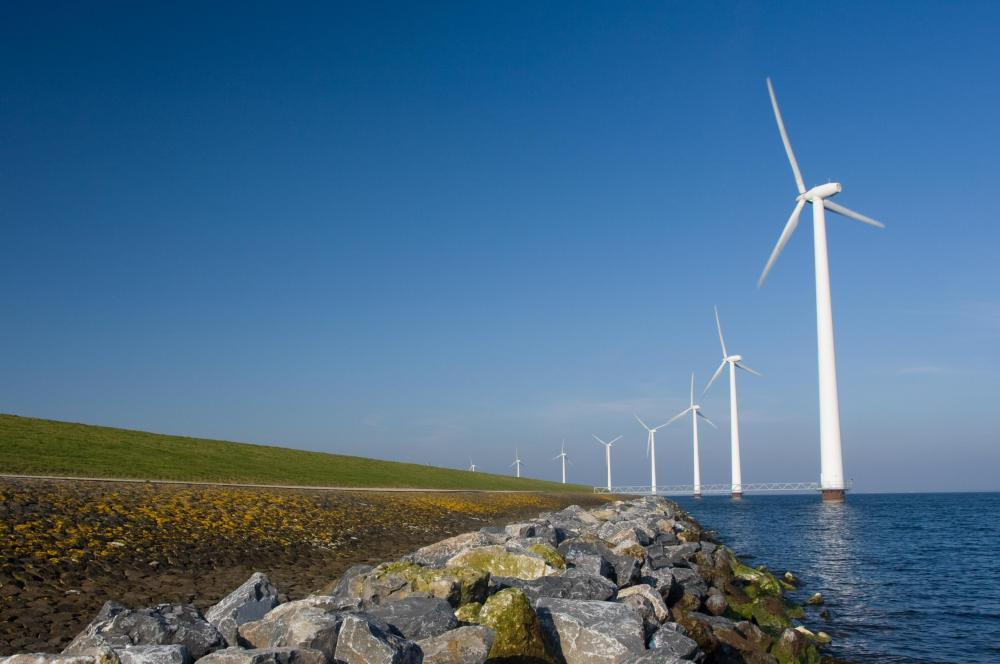 A wind farm that's used to make renewable energy.
