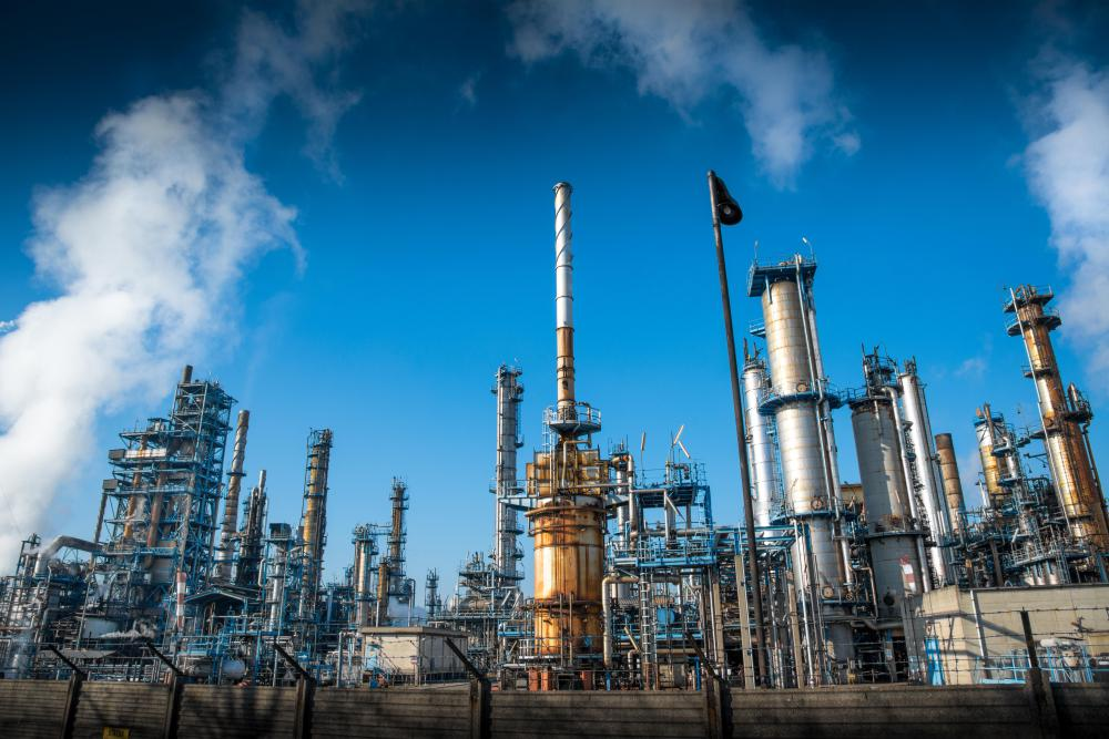 Gasoline, kerosene and petroleum are refined from crude oil in refineries.