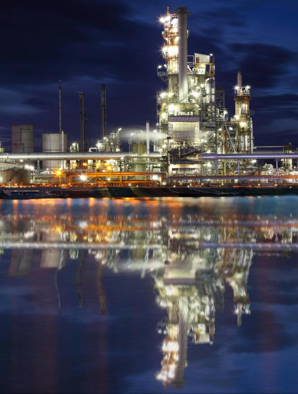 Oil refineries produce hydraulic mineral oil.
