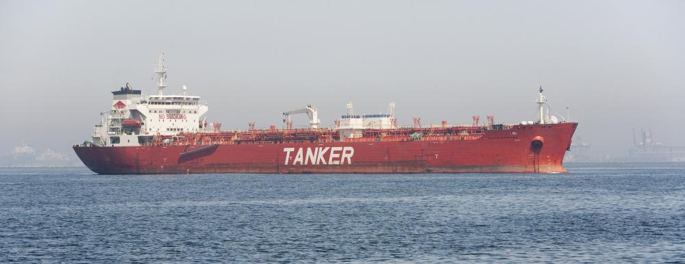 Oil is transported on tankers.