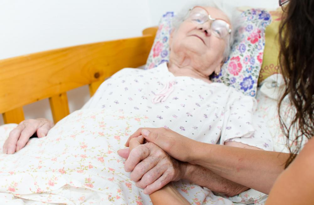 A home nurse may help keep an eye of an elderly person while their primary care person is at work.
