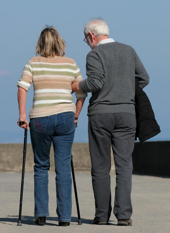 Patients recovering from knee replacement surgery may require leg braces, canes or crutches to assist with walking.