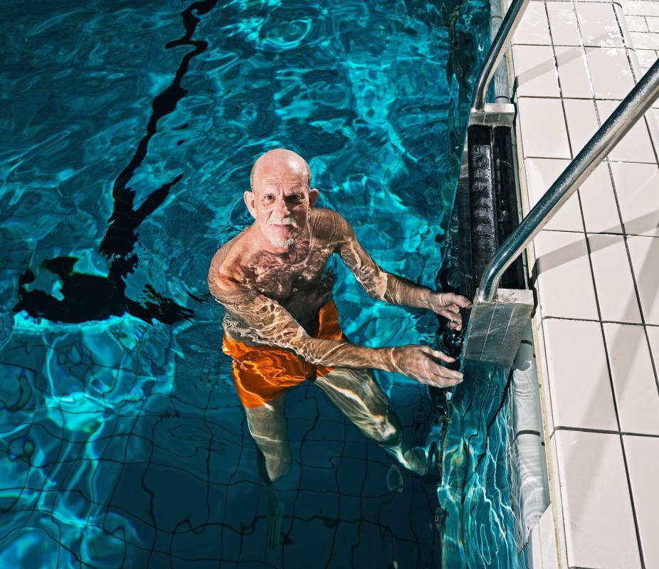 Water aerobics classes are especially beneficial to the elderly.