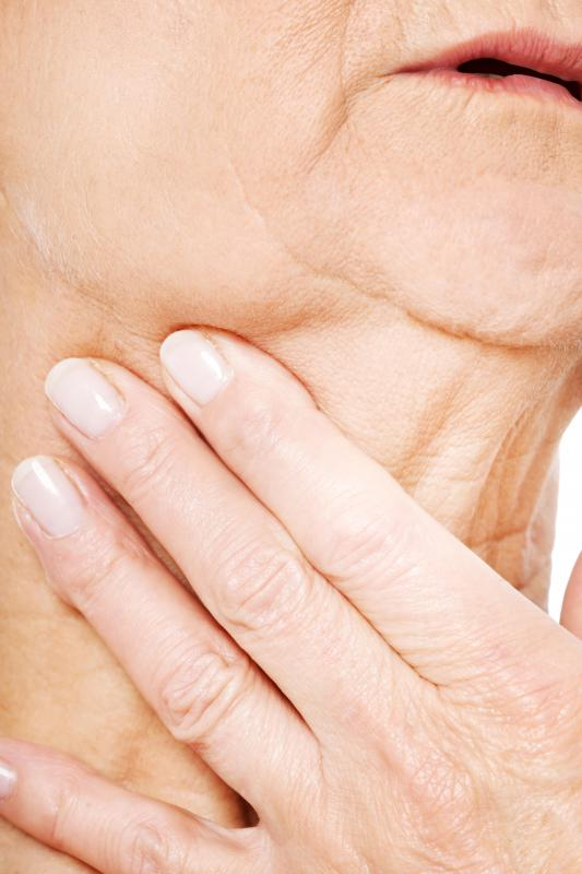 Trouble breathing and swallowing may be symptoms of throat cancer.