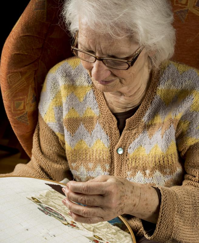Seniors may enjoy crafts such as needlepoint.