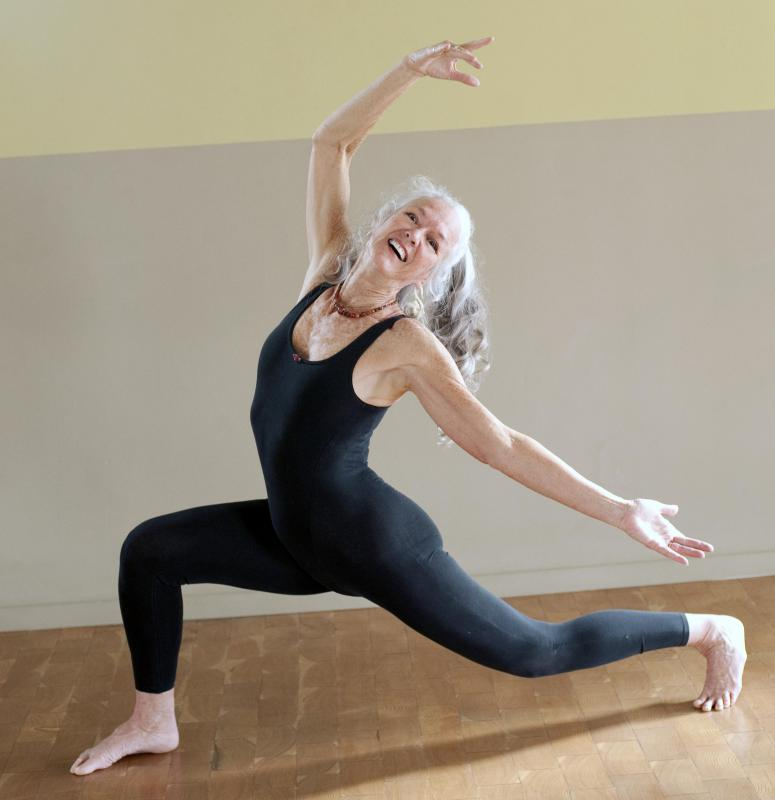 Practicing yoga helps older adults maintain strength and flexibility.