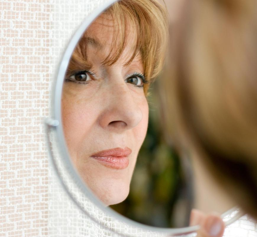 Facial wrinkles that are caused by aging frequently appear around the eyes and on the forehead.