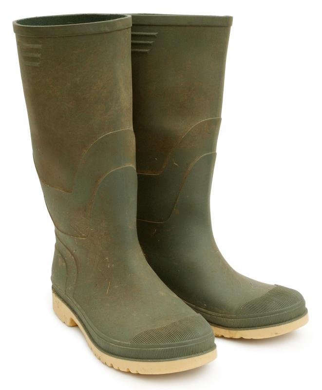 Rubber rain boots offer water resistance for various activities.