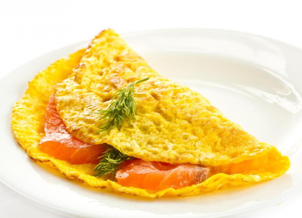 Stainless steel pans are commonly used to make omelettes.
