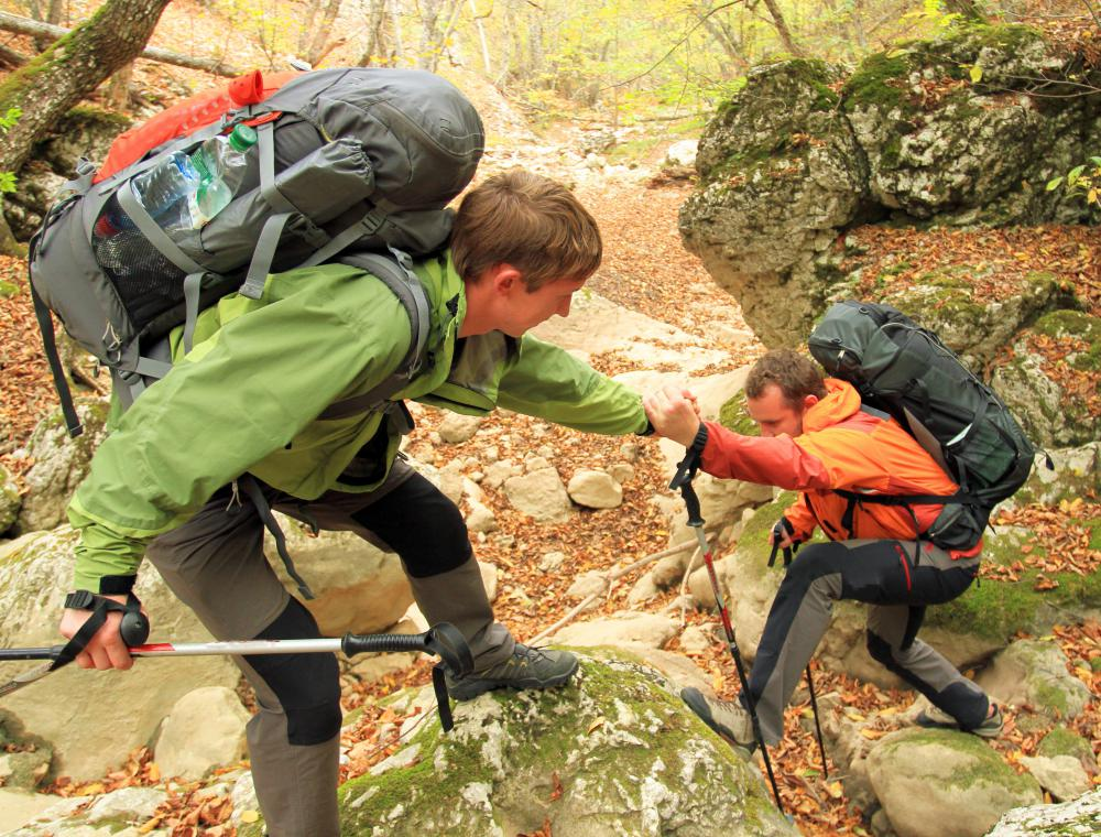 The buddy system is a good idea when hiking in unfamiliar terrain, so there will be assistance in the event of an injury.