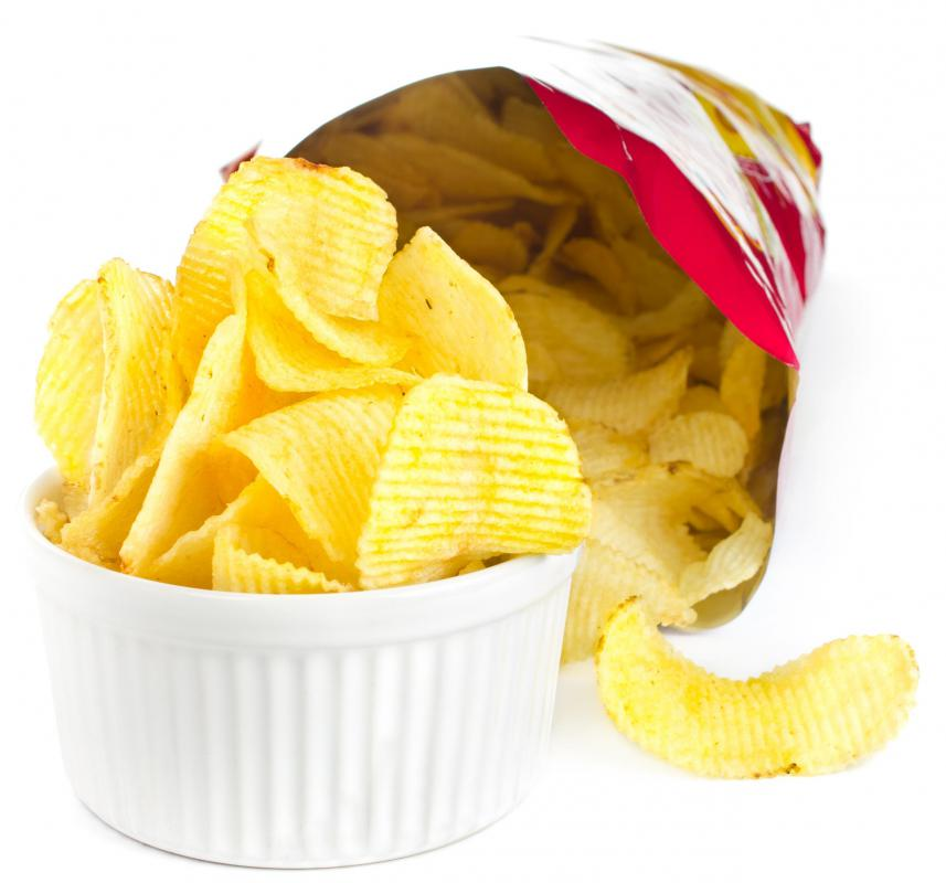 Potato chips are often served as a snack at tailgate parties.