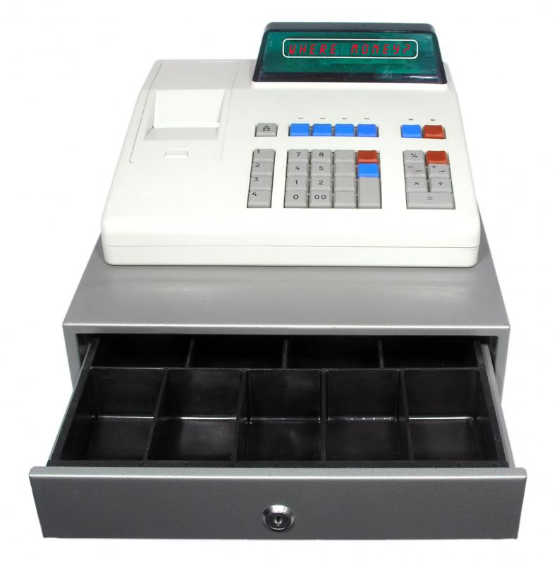 The point of sale often includes a cash register.