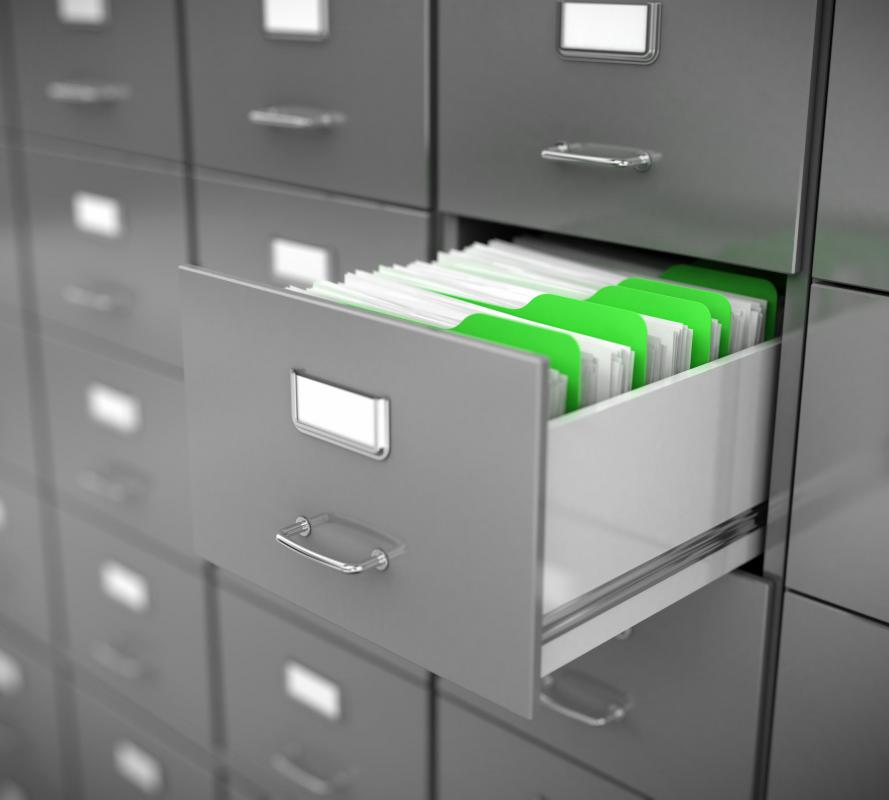 Many used file cabinets are made of metal.