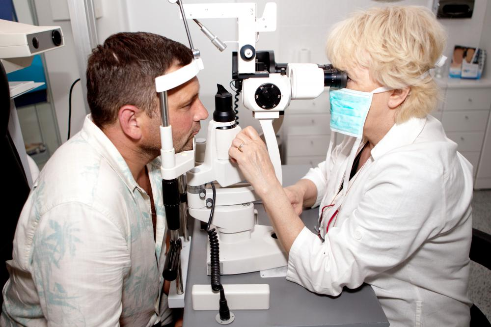 A person having an eye exam.