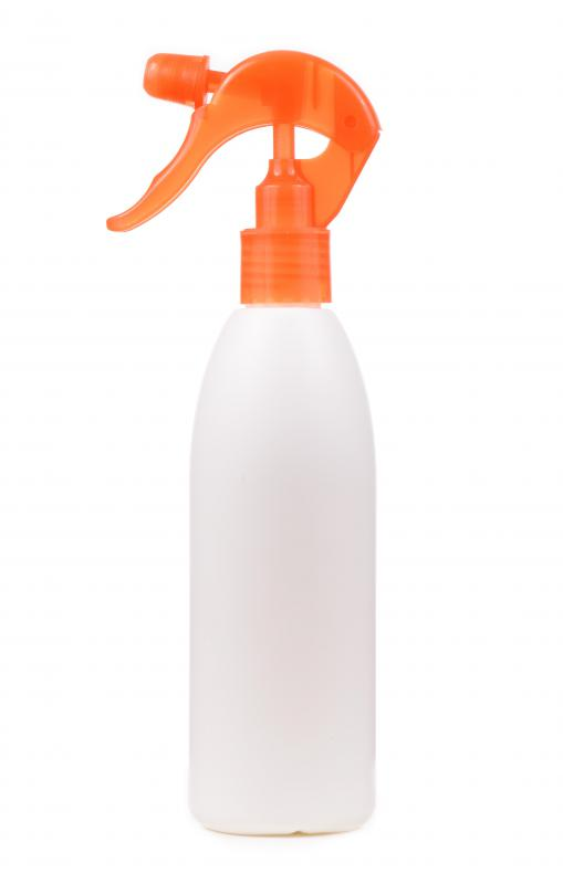 A spray bottle may be used to apply fresh linen water to clothing before ironing.