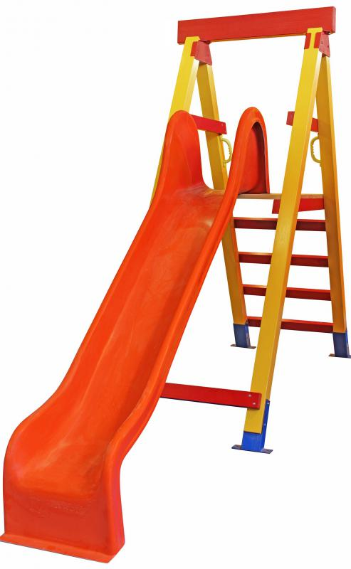 Slides may be part of an obstacle course in an indoor playground.