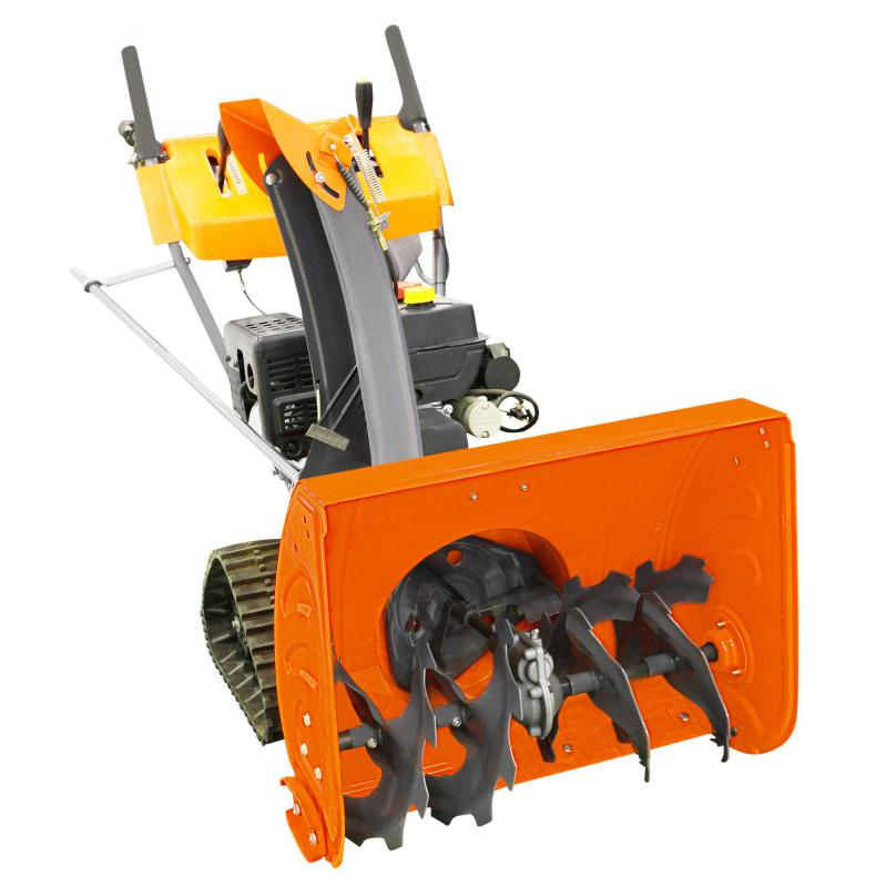 Machines designed for home garden tilling have rotary tines powered by a gasoline engine.