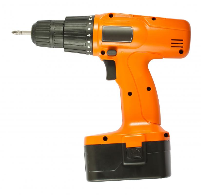 Basic woodworking tools include battery powered drills.