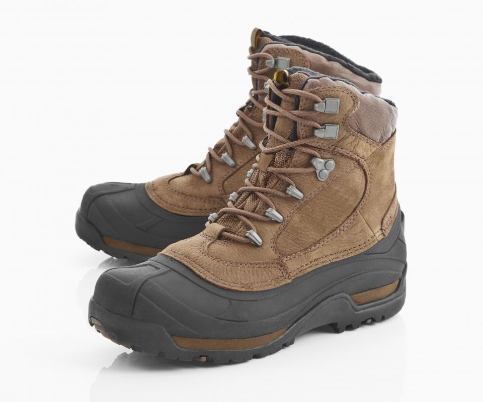 Round-toe hiking boots.