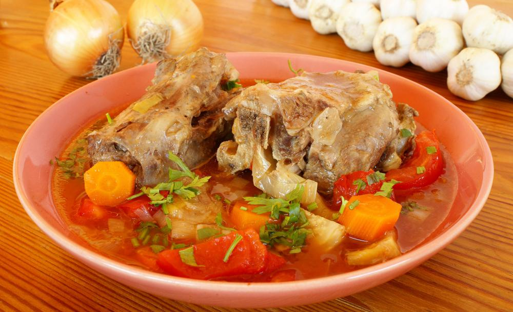 Oxtail stew is a hearty meat and vegetable dish.