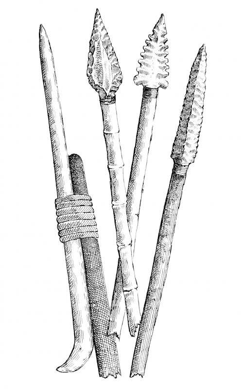 Prehistoric tools included spears with stone heads that were chipped to gain a sharper edge.