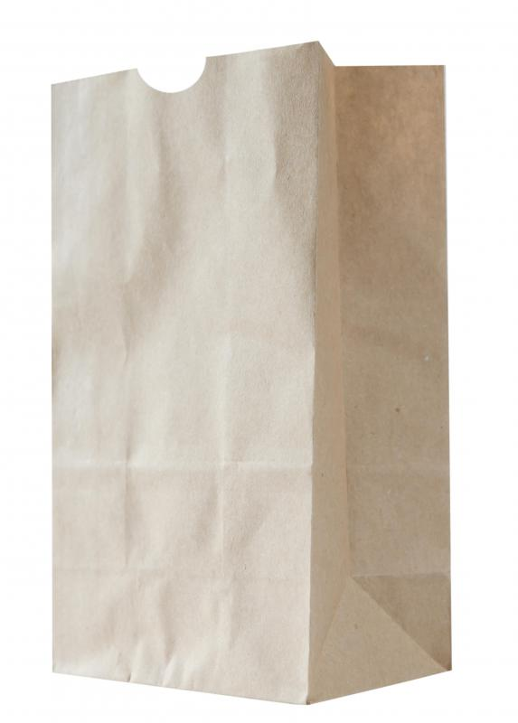 A bag made of recycled paper.