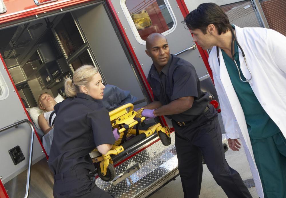 Health industry jobs include work as a paramedic.