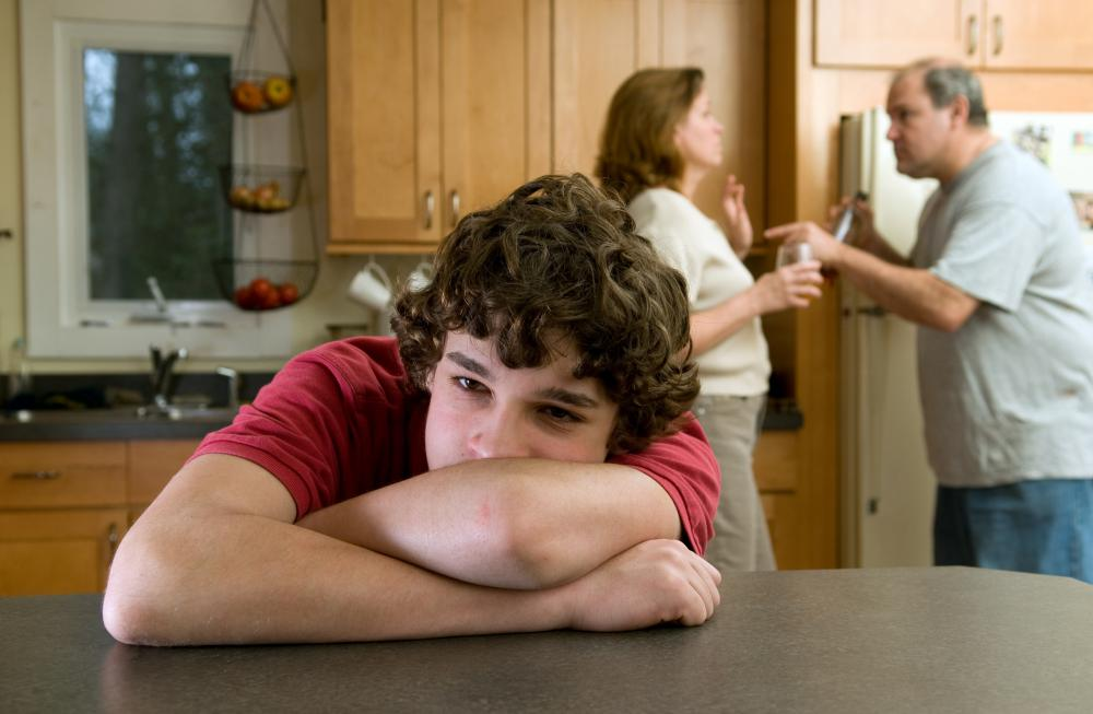 It's common for parents to get so heated during an argument that they aren't thinking of their children who are listening to them and starting to feel upset about the situation.