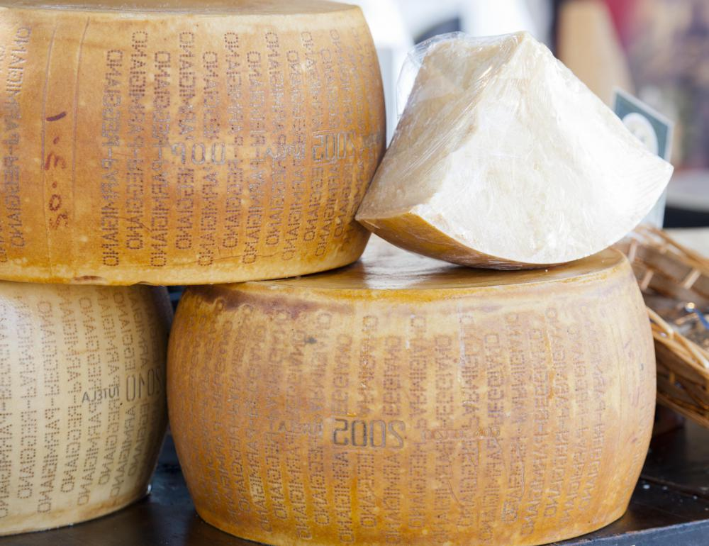 Parmesan is a hard, aged cheese used in many dishes.