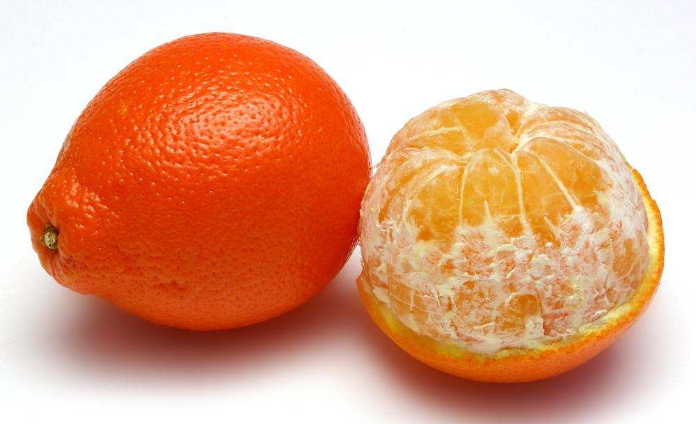 A tangelo is a hybrid of a tangerine with a grapefruit and has a distinctive knob.