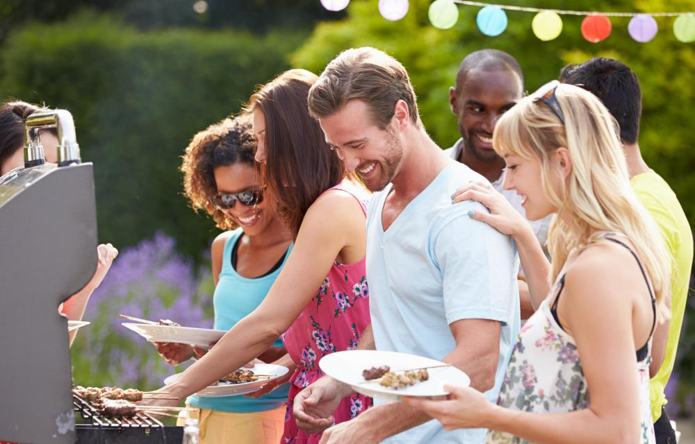 A free-standing electric barbecue grill can be useful for summertime parties.