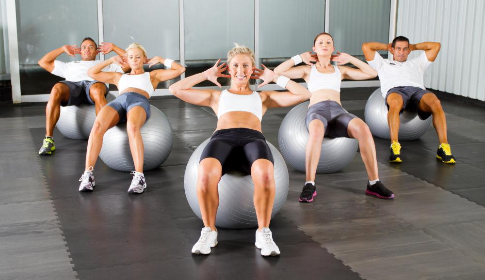 Some gyms invest in durable stability balls, mats and other equipment for use in group exercise classes.
