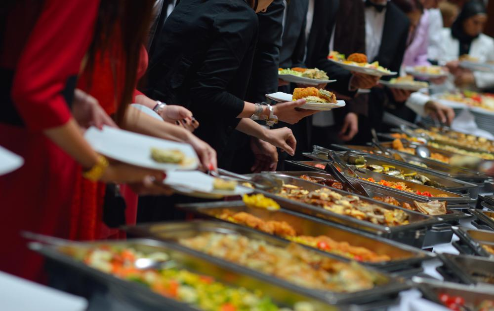 Buffet-style dining is popular at wedding receptions.