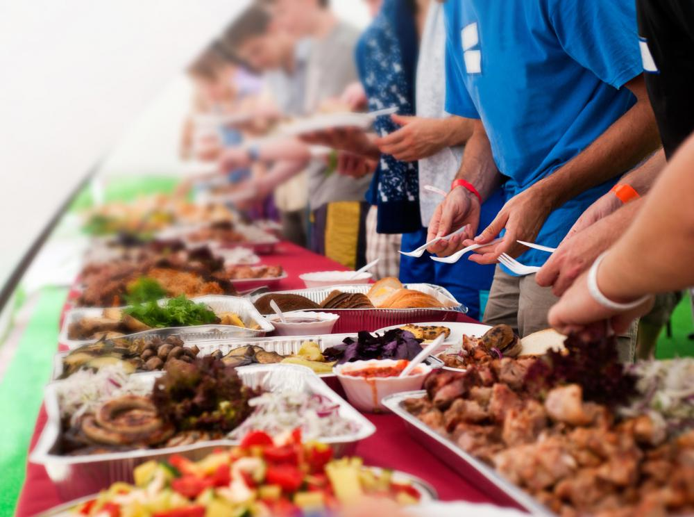 A line cook may be responsible for preparing dishes to replenish a buffet.