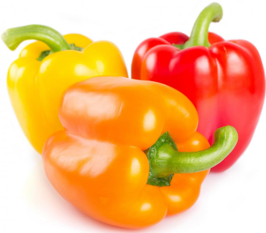 Bell peppers are commonly included on kebabs.