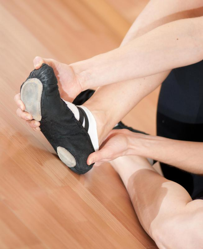 Ballet Slippers Are Worn By A Dancer In Dance Studio Or On Stage