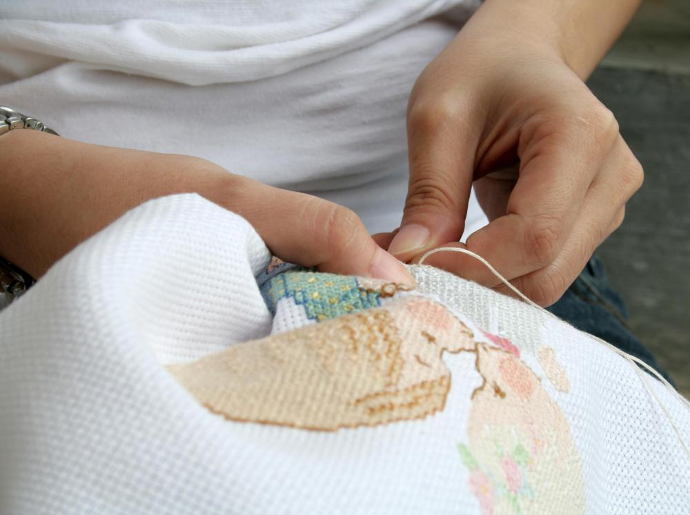 Cross stitching primarily uses cotton floss thread.