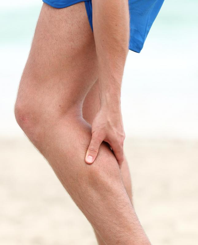 Cramps in the calf muscle are a common source of pain.