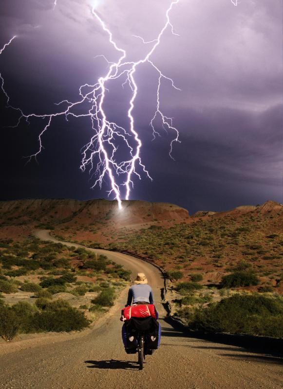 Those who cannot go inside during a lightning storm should hunch down close to the ground to avoid getting struck.