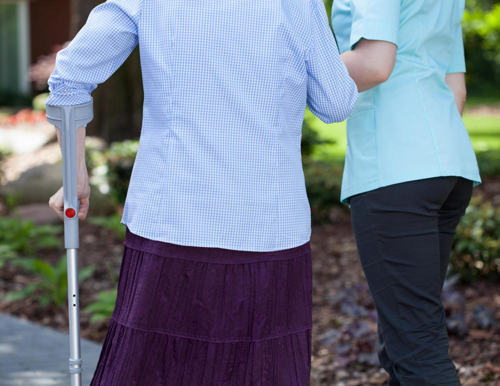 An orthopedic technician might instruct patients on the proper way to use a walking cane.