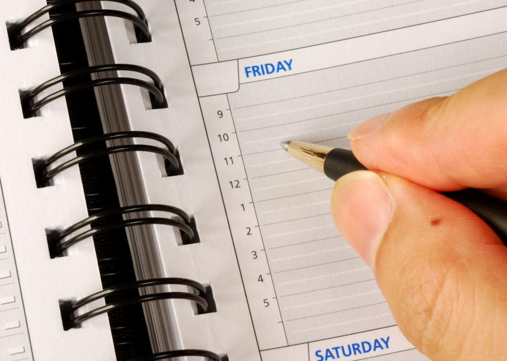 A pocket organizer can help people who are self-employed keep track of deadlines.
