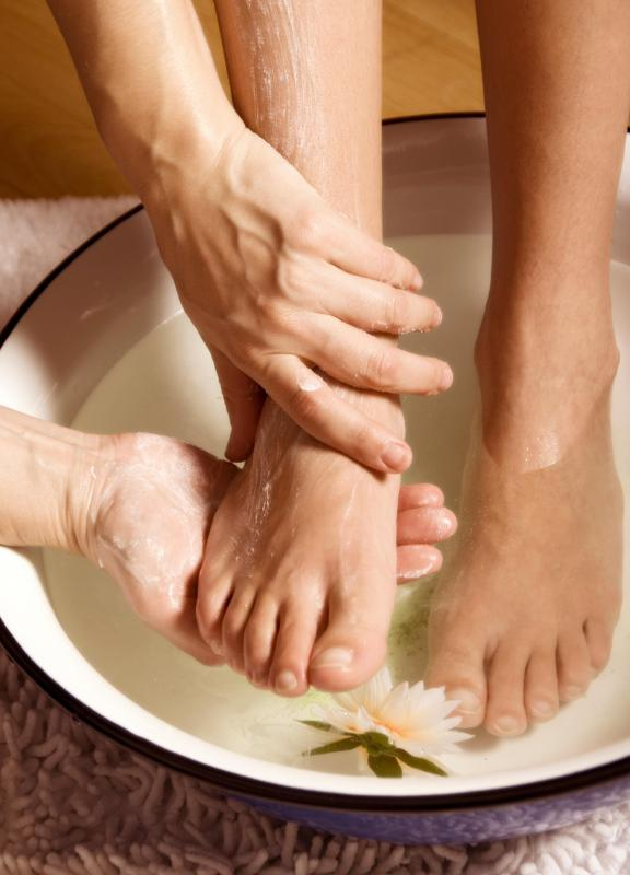 Feet may be soaked prior to a pedicure.