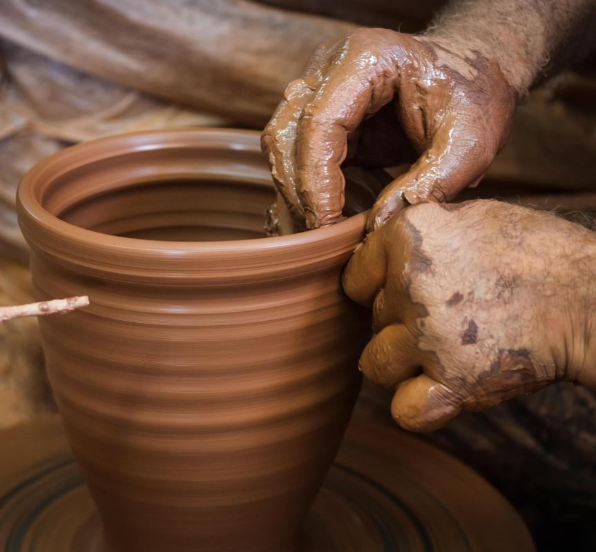 Firing clay is used for pottery and stoneware, and is often worked a potter's wheel.