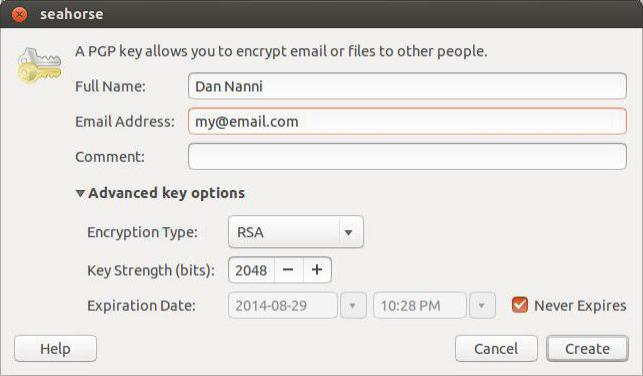 Users may use encryption keys to send encrypted files as email attachments.