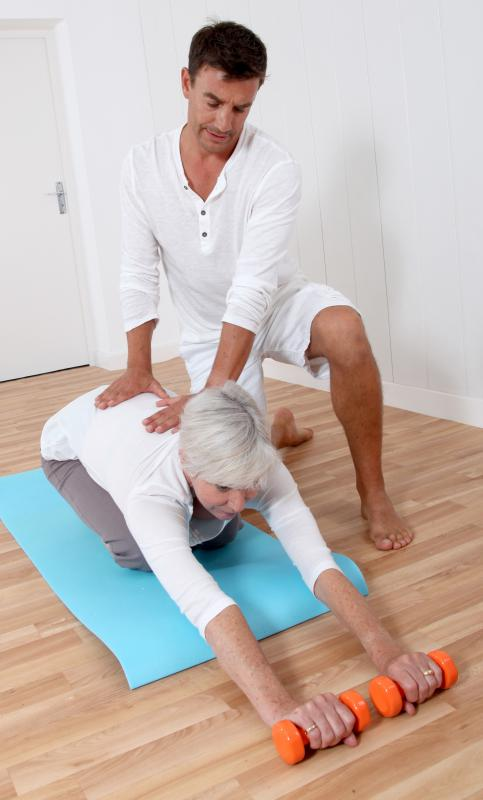 A physiotherapy session usually involves direct contact with a patient.
