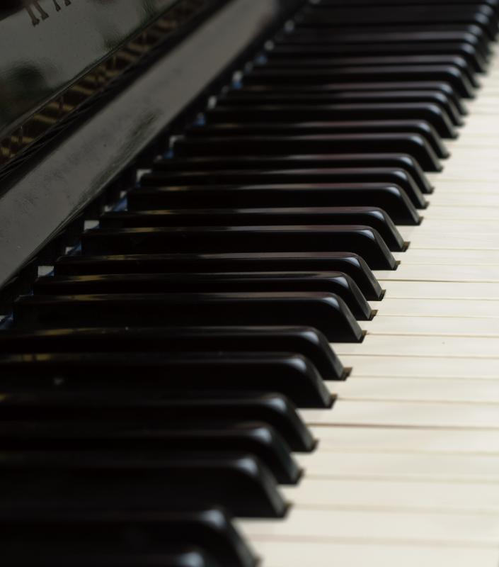 Keys of a piano are made of ivory.