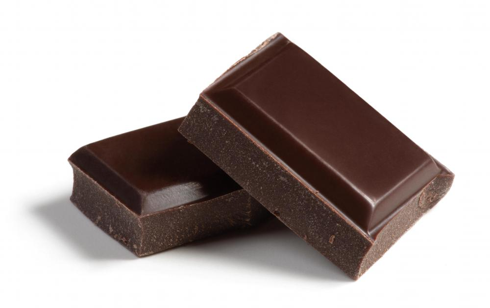 Squares of bittersweet chocolate.