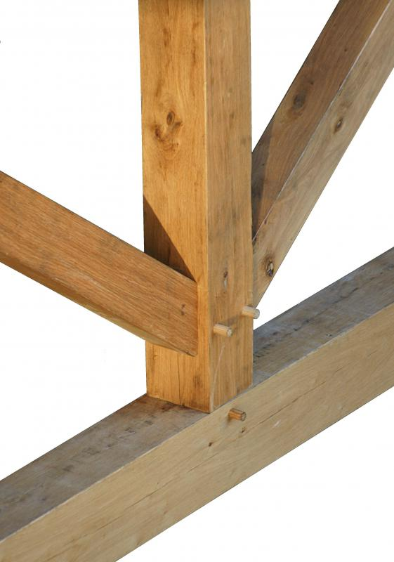 The strength in mortise and tenon joints comes from fitting one piece of wood, the tenon, into a slot, or mortise, in another piece of wood.